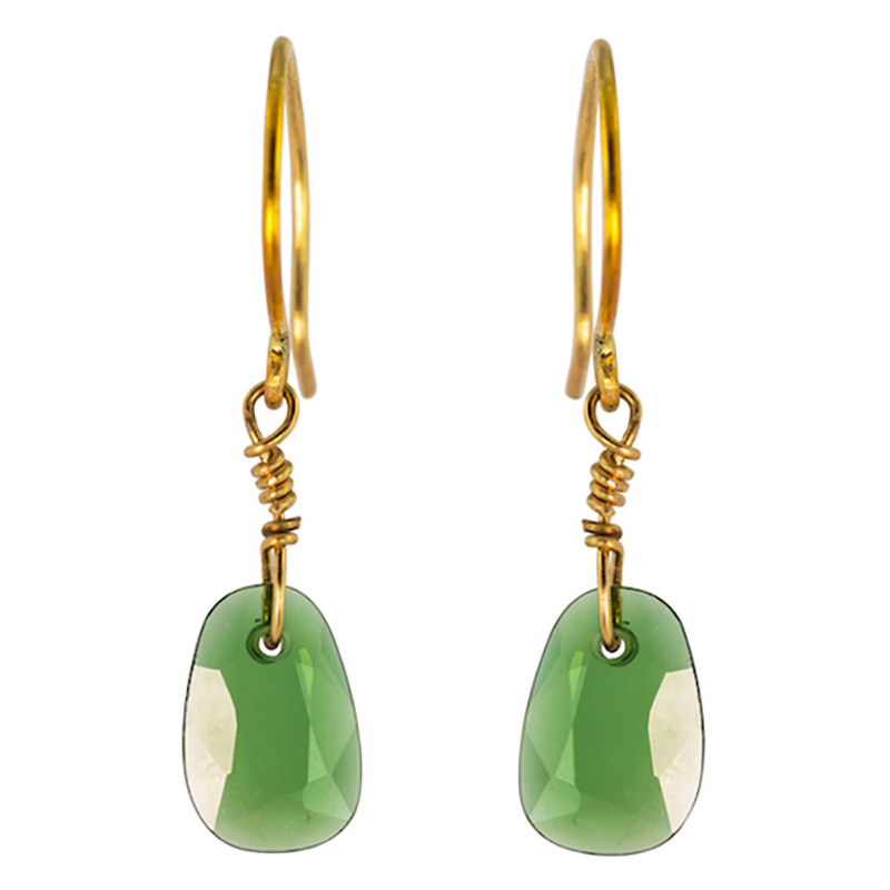 Earrings Bahia Tourmaline Cypress color 18K Gold