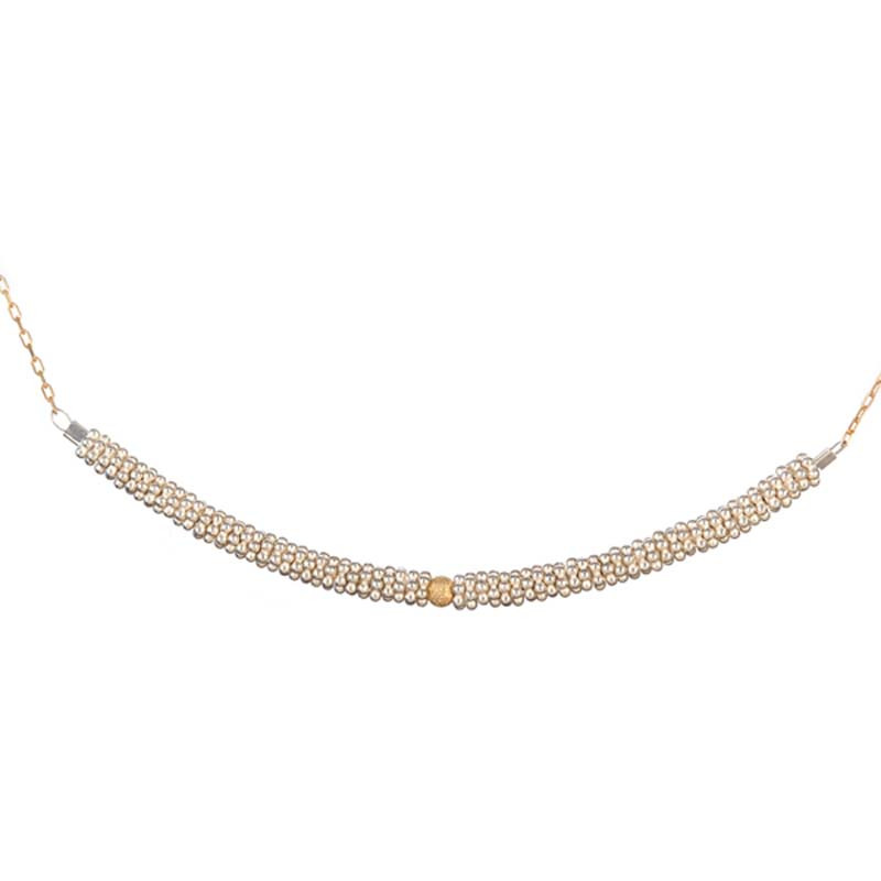Necklace Bhoutan Vermeil & Sterling Silver Necklace 18K Gold Sphere