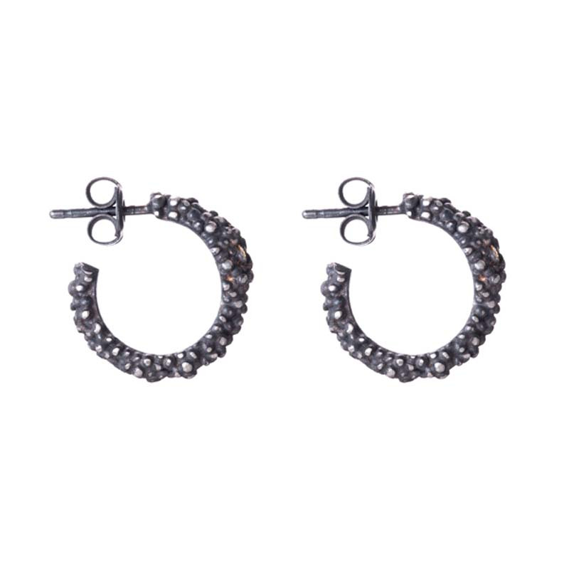 Earrings Billes Hoop Oxidized Sterling Silver