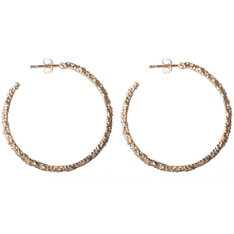 Earrings Billes Hoop Sterling Silver Light Gold Plated Large