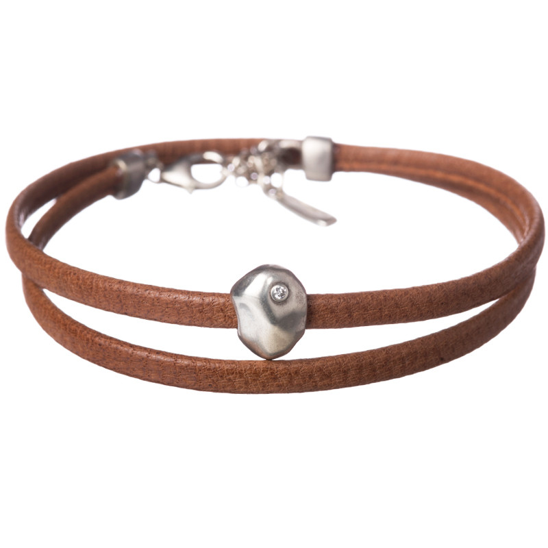 Double Pebble Bracelet 1 Diamond Silver 925 Natural Leather