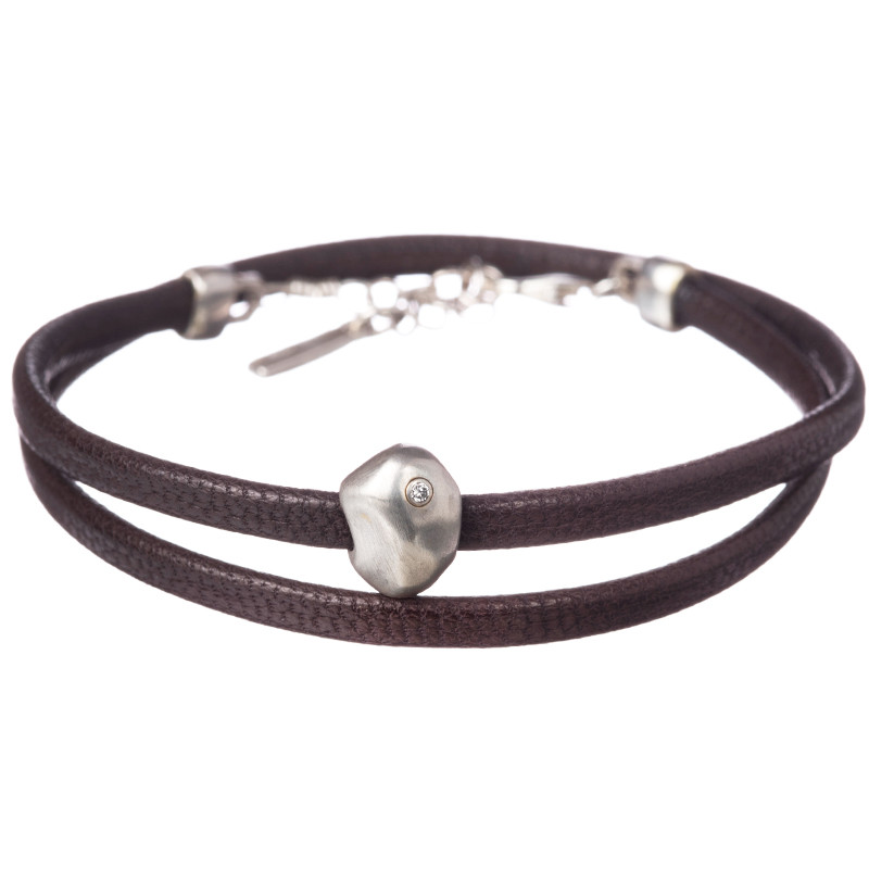 Bracelet Caillou Double 1 Diamond Silver 925 Leather Brown