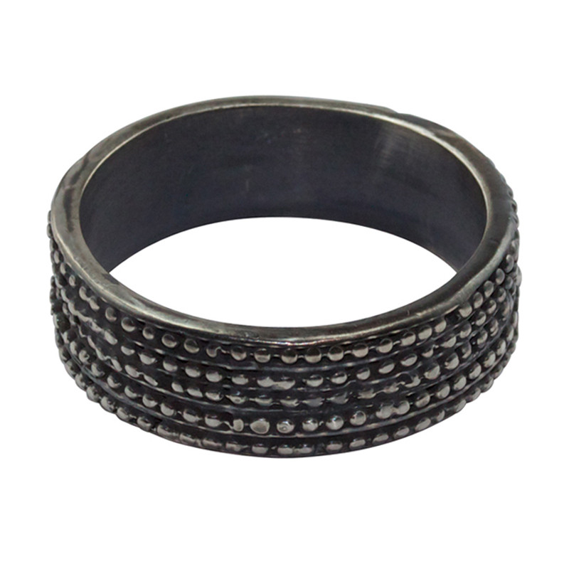Ring Grenaille Oxidized Silver Large for Man