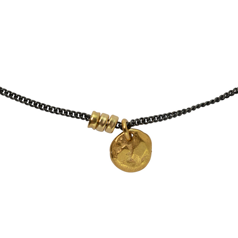 Necklace Moon Oxidized Sterling Silver & 18K Gold