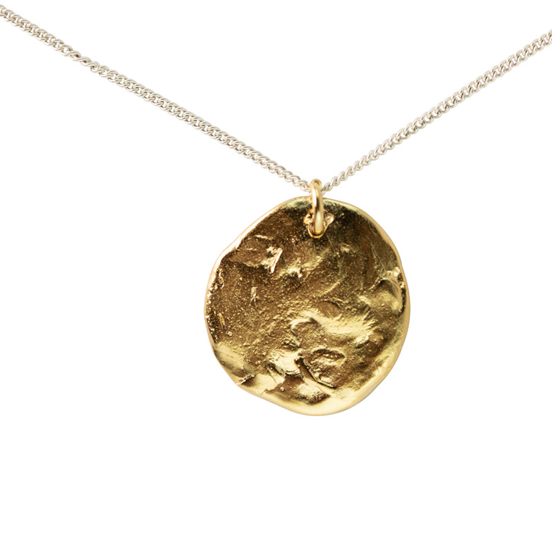 Necklace Moon Sterling Silver & Light Gold Large