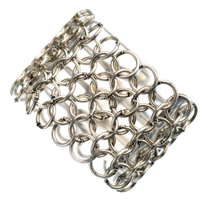 Ring Cotte de Mailles Antique Silver Plated Tube