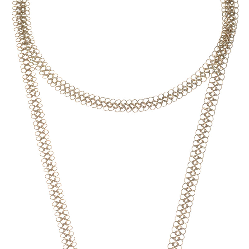 Long Necklace Cotte de Mailles Sterling Silver Gold Plated