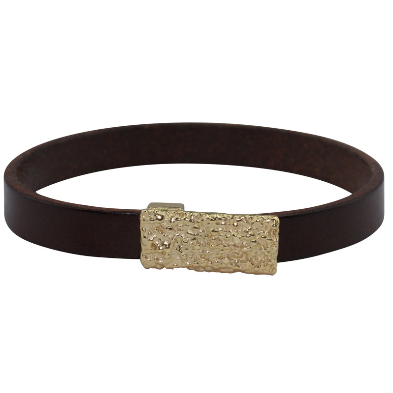 Bracelet Lichen Silver Light Gold Plated & Brown Leather