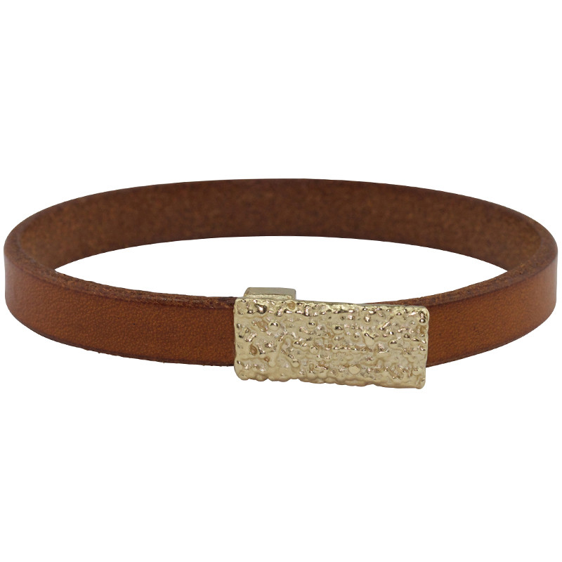 Bracelet Lichen Silver Light Gold Plated & Tobacco Leather