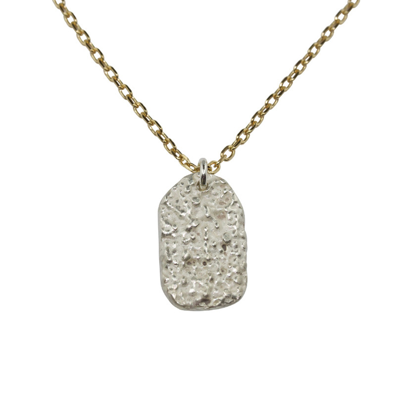 Necklace Lichen Silver Light Gold Plated & Sterling Silver Oval