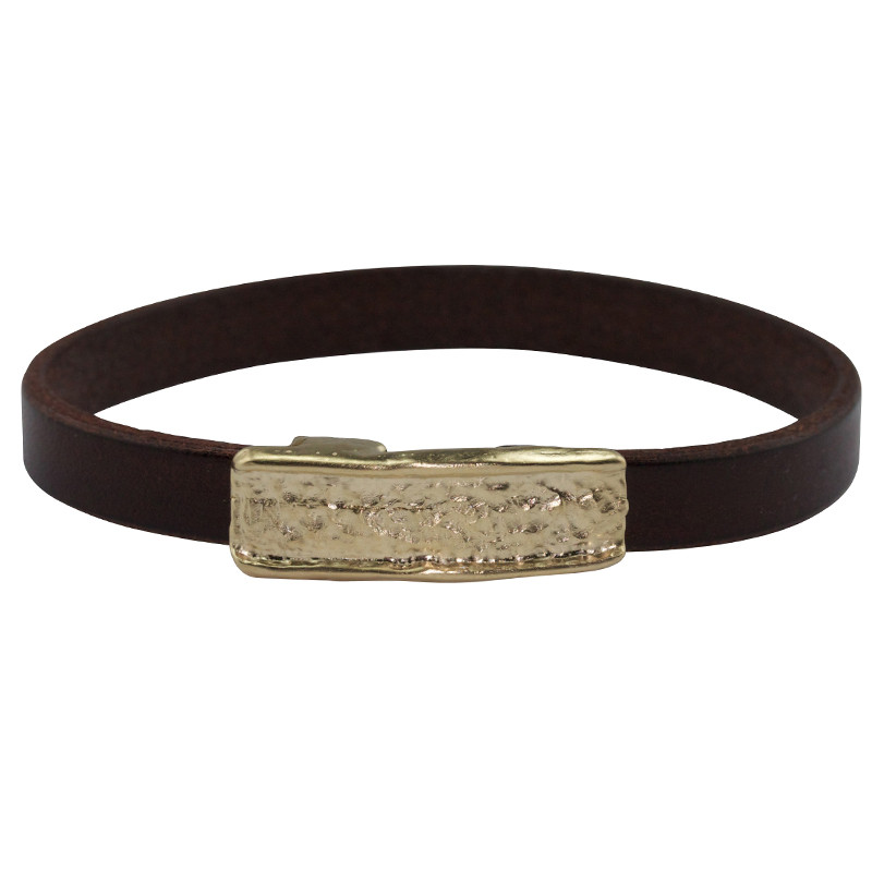 Bracelet Magma Silver Light Gold Plated & Brown Leather