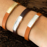 Bracelet Magma Sterling Silver & Tobacco Leather