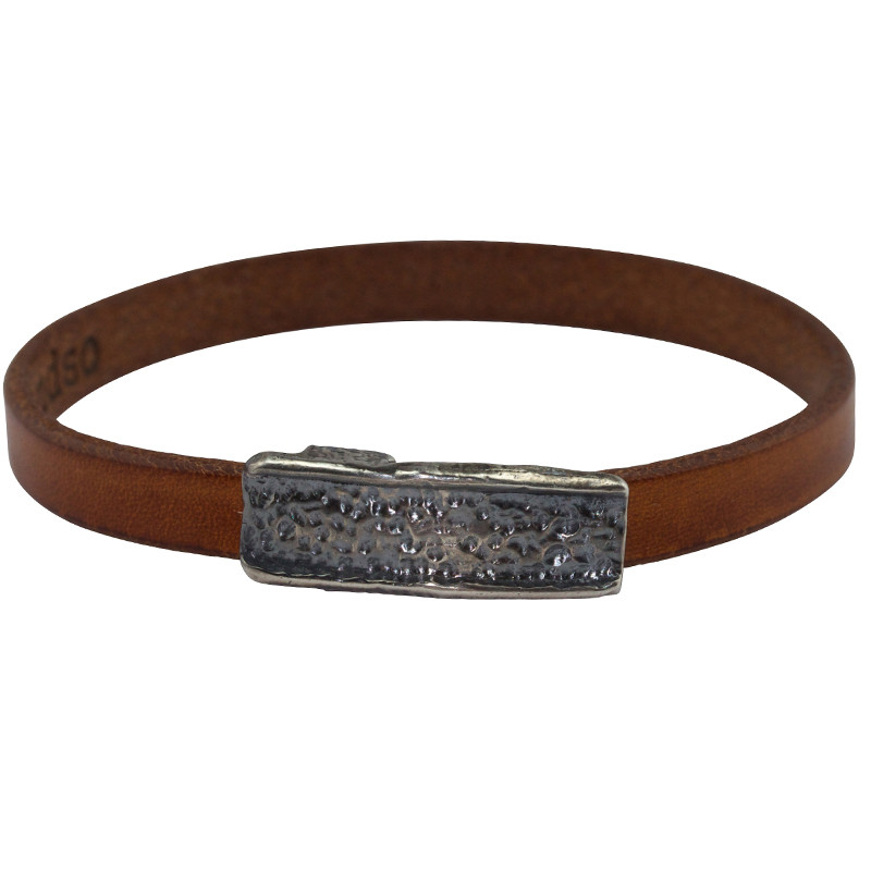 Bracelet Magma Oxidized Silver & Tobacco Leather