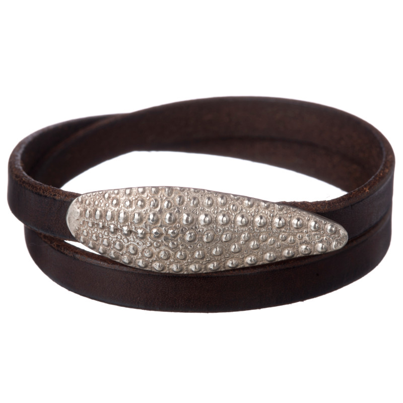 Double Bracelet Oursin Sterling Silver Brown Leather