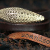 Double Bracelet Oursin Sterling Silver Light Gold Plated & Brown Leather