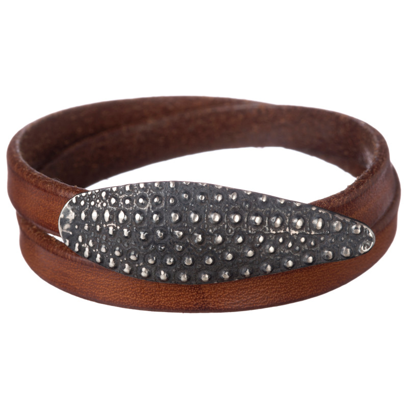 Double Bracelet Oursin Oxidized Sterling SIlver Tobacco Leather