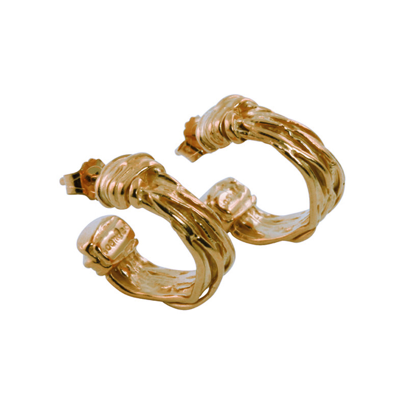 Hoop Earrings Twist Sterling Silver Gold Plated