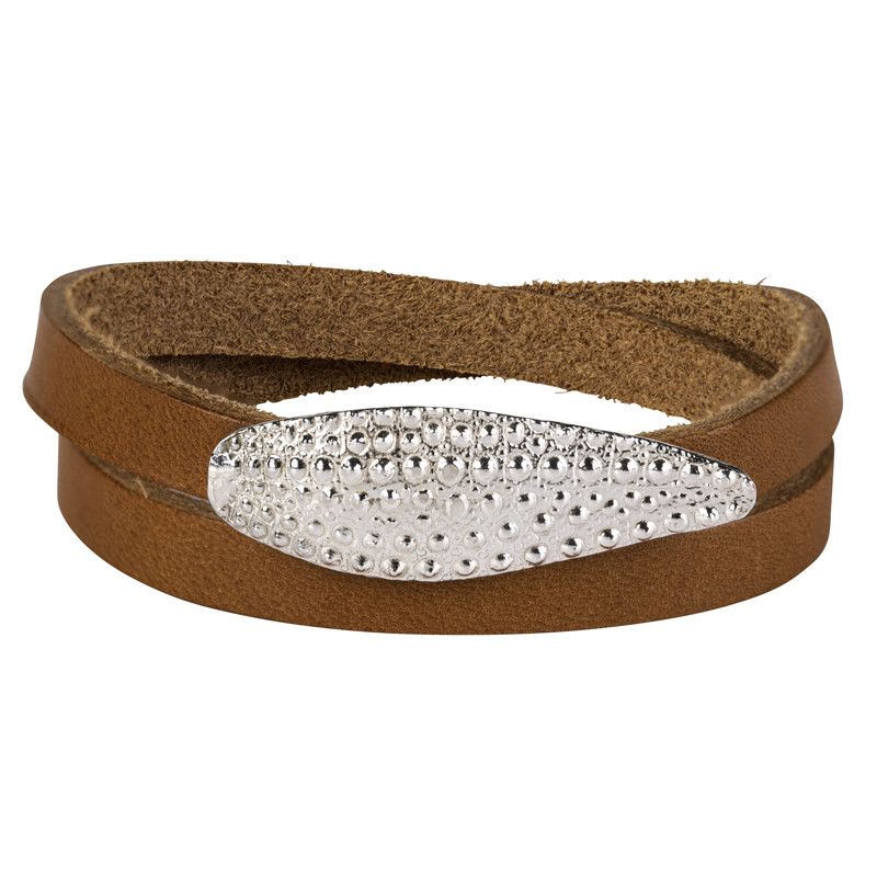 Double Bracelet Oursin Sterling SIlver Tobacco Leather
