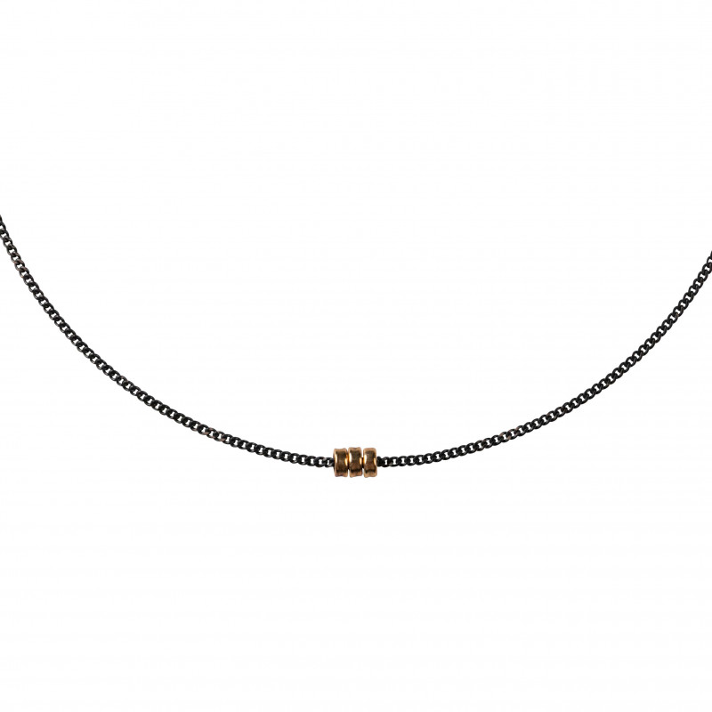 Necklace Dune Oxidized Silver & 18K Gold