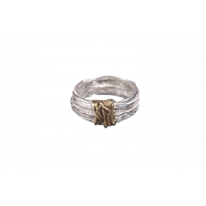 Sterling Silver & Gold Plated Twist Ring